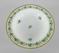 SMALL SWANSEA PORCELAIN FRUIT BOWL decorated with a continuous gilt and green leaf vine within a