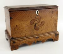 WELSH JOINED OAK MINIATURE COFFER having a stepped base with carved apron and bracket feet,