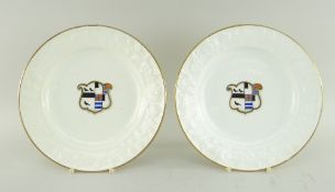 PAIR OF SWANSEA PORCELAIN PLATES having moulded floral borders, gilt rims and centred painted and