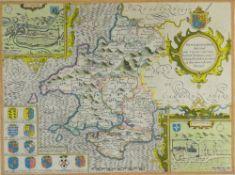 JOHN SPEED coloured antiquarian map - 'Penbrokeshyre' (Pembrokeshire) with inset plan of St David's,