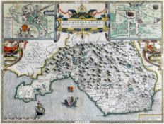 JOHN SPEED double engraving map of 'Glamorganshyre', with plans of 'Cardyfe' and 'Landaffe', hand-