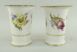 PAIR OF SWANSEA PORCELAIN SPILL VASES having flared rim and everted feet, decorated with sprays of