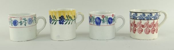 THREE VARIOUS LLANELLY POTTERY SPONGE WARE MUGS and another