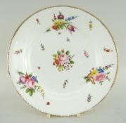 NANTGARW PORCELAIN PLATE painted with sprays of colourful flowers and insects, gilt dentil rim,