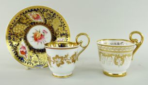 NANTGARW PORCELAIN COFFEE CUP & SIMILAR COALPORT SAUCER TOGETHER WITH ANOTHER NANTGARW CUP the cup