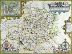 JOHN SPEED coloured antiquarian map - 'Montgomeryshire, Described by Christopher Saxton, Augmented