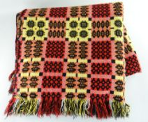 VINTAGE TRADITIONAL WELSH WOOLLEN BLANKET with black, yellow, orange and red geometric design,