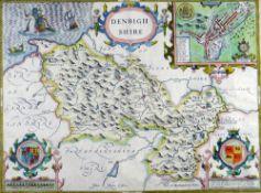 JOHN SPEED antiquarian coloured map - Denbighshire, John Sudbury & George Humble, 1610, inset town
