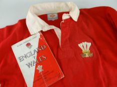 NORMAN GALE MATCH WORN WALES INTERNATIONAL RUGBY UNION JERSEY, bears embroidered Prince of Wales