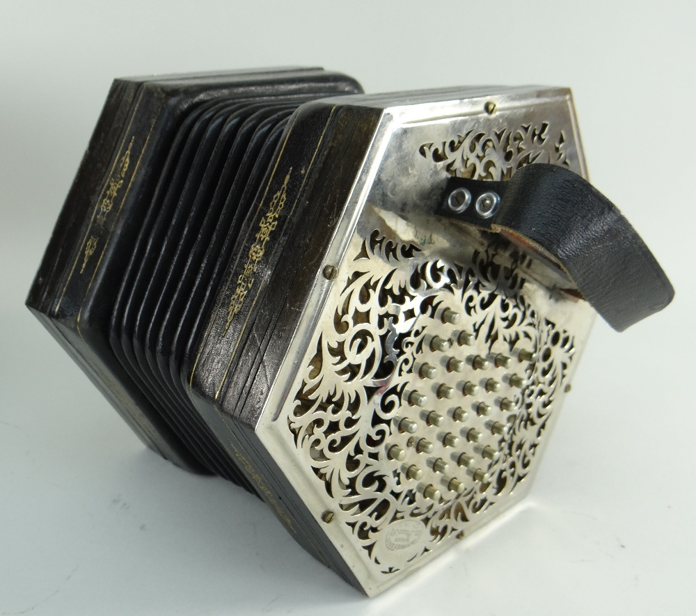 JEFFRIES BROS. ENGLISH 55-KEY 'CRANE-SYSTEM' CONCERTINA ACCORDION, 1908-1923, with seven black - Image 3 of 23