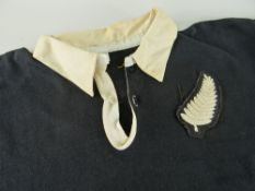 NEW ZEALAND ALL BLACKS JERSEY MATCH WORN BY BRUCE MCLEOD bearing embroidered silver fern to stitched