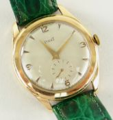 18K YELLOW GOLD GENTS PIAGET WRISTWATCH, having 17 jewel movement and hallmarked to the inside of