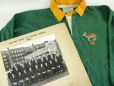 INTERNATIONAL SOUTH AFRICA RUGBY UNION JERSEY WORN BY GABRIEL FREDERICK 'ABIE' MALAN (1935-2014),