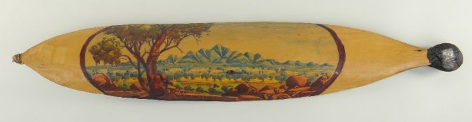WALTER EBATARINJA (1915-1968) Hermannsberg, NT, painted woomera, depicting NT landscape, probably