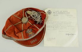 NORMAN GALE 1960 WALES RUGBY UNION CAP & CONGRATULATORY LETTER, cap with braid tassel and trim,