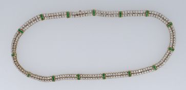 18CT GOLD DIAMOND & EMERALD NECKLET, overall diamond carat weight approx. 12cts and emerald carat