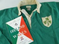 1960 IRELAND INTERNATIONAL RUGBY UNION JERSEY WORN BY THOMAS J KIERNAN (b.1939) against Wales in
