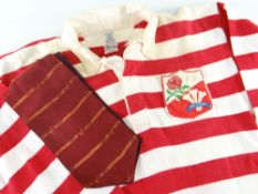 RARE 1955 MATCH WORN RUGBY UNION JERSEY FOR WALES & ENGLAND v IRELAND & SCOTLAND played in by prop