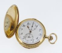 FINE 18K GOLD FULL HUNTER MINUTE REPEATER CHRONOGRAPH POCKET WATCH, c.1900, white enamel dial with