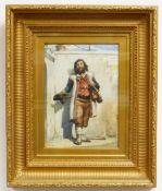 LATE 19TH CENTURY ENGLISH SCHOOL watercolour - Italian itinerant musician, signed with initials RH