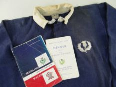 1963 SCOTLAND INTERNATIONAL RUGBY UNION JERSEY WORN BY NORMAN BRUCE (1932-1992) against Wales at