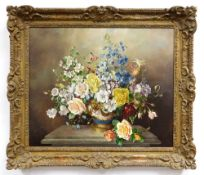 HAROLD CLAYTON (1896-1976) oil on canvas - still life of roses, aquilegia etc, in an ormolu-