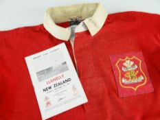 1963 LLANELLY RUGBY UNION JERSEY MATCH WORN BY NORMAN GALE AGAINST NEW ZEALAND played on December