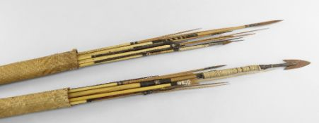 COLLECTION OF AMAZONIAN REED ARROWS, probably Wai Wai or Karaja, Brazil, finely woven bound tips