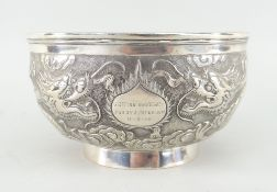 CHINESE SILVER BOWL BY TUCK CHANG, SHANGHAI c.1910, repousse decorated with two confronting four-