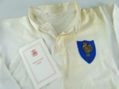 1964 FRANCE INTERNATIONAL RUGBY UNION JERSEY WORN BY ANDRE HERRERO (b.1938) against Wales in Cardiff