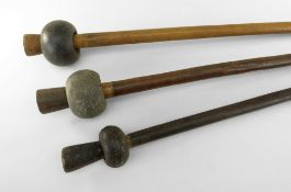 THREE NEW BRITAIN STONE HEAD CLUBS, longest 23cms (3)