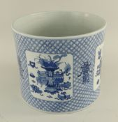 CHINESE BLUE & WHITE PORCELAIN BRUSH POT, bitong, painted with four square vignettes depicting '
