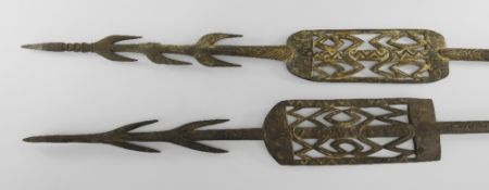 TWO ASMAT SPEARS, Southern Papua Province, Indonesian New Guinea, with seed, feather and woven fibre