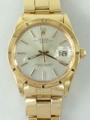 ROLEX 18K GOLD OYSTER PERPETUAL DATE GENTS WRISTWATCH, model 1501/R with 18k gold 7205 oyster