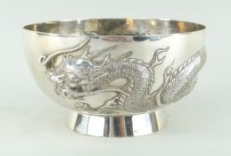 CHINESE SILVER BOWL BY CHEUNG SHING, c.1920, repousse decorated with a single four-clawed dragon
