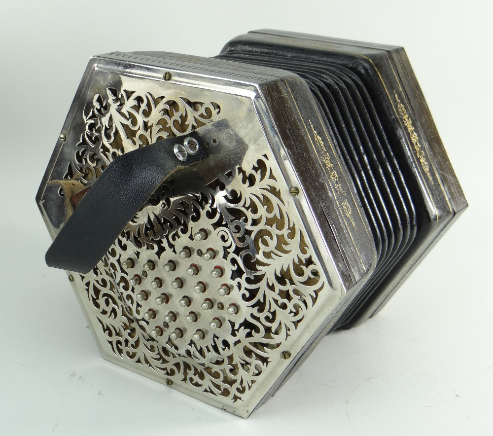 JEFFRIES BROS. ENGLISH 55-KEY 'CRANE-SYSTEM' CONCERTINA ACCORDION, 1908-1923, with seven black - Image 2 of 23