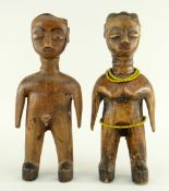 PAIR OF EWE MALE & FEMALE FIGURES, Ghana, 20cms (2)