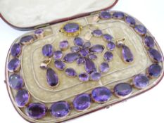 BELIEVED LATE 19TH CENTURY/EARLY 20TH CENTURY AMETHYST & GOLD PARURE, the necklace composed of
