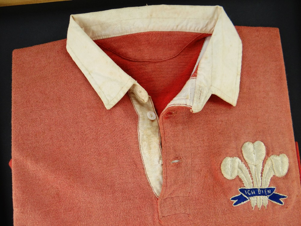 Lot 62 - 1924 WALES INTERNATIONAL RUGBY UNION JERSEY MATCH WORN BY JACK WETTER AGAINST NEW ZEALAND '