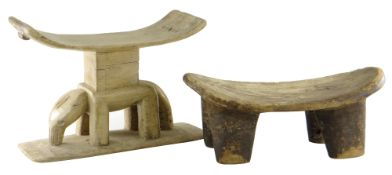 TWO WEST AFRICAN STOOLS, comprising Ashanti elephant stool, Ghana, 53cms and a Lobi stool, Burkina
