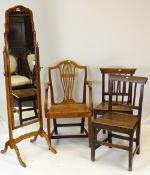 QUEEN ANNE-STYLE WALNUT CHEVAL MIRROR together with three country Georgian sycamore or oak chairs (