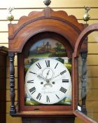 19TH CENTURY SOUTH WALES MAHOGANY 8-DAY LONGCASE CLOCK with 12-inch painted broken arch dial, signed
