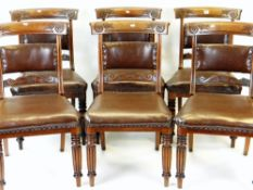 SET OF SIX WILLIAM IV MAHOGANY DINING CHAIRS with carved bow backs and scrolled crossbars,