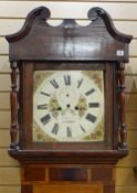 19TH CENTURY WELSH OAK & MAHOGANY 8-DAY LONGCASE CLOCK, floral painted Roman dial, signed 'T.Davies.