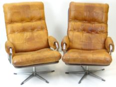 PAIR OF DANISH-STYLE MID-CENTURY LEATHER & CHROME STEEL ARMCHAIRS, tan leather quilt work back and