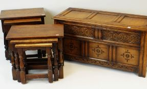 TWO ELIZABETHAN-STYLE OAK NESTS OF OCCASIONAL TABLES and a coffer similar (6)