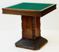CONTINENTAL MAHOGANY CARD TABLE, reversible square top on concave Rococo square section column and