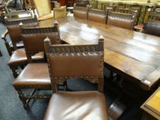 HARLEQUIN SET OF OAK DINING CHAIRS comprising six Caroleon-style back stools and a pair of