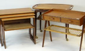 DANISH TEAK OCCASIONAL FURNITURE BY JOHANNES ANDERSEN OF DENMARK including butler's tray on