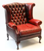 VINTAGE RED LEATHER BUTTON UPHOLSTERED WING BACK ARMCHAIR